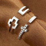 Cross Style 925 Sterling Silver Adjustable Couple Rings