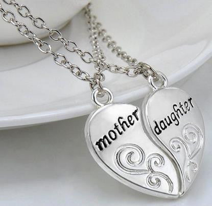 Mother and Daughter Love Heart Matching Pendant Necklaces