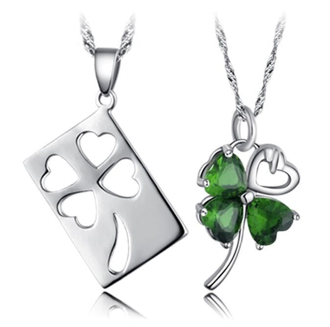 925 Sterling Silver Clover Couples Necklaces E060129001