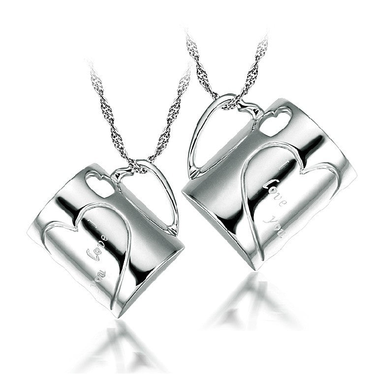 Heart-Shaped Cup 925 Sterling Silver Couple Necklaces E060124001