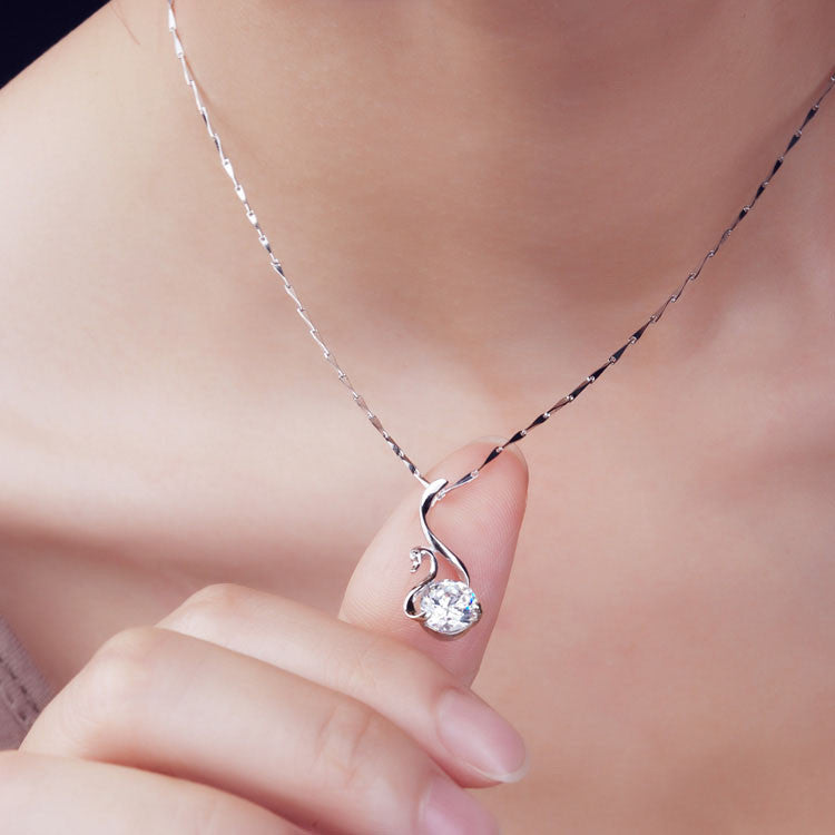 Crystal Swan Women's Sterling Silver Necklace EverMarker