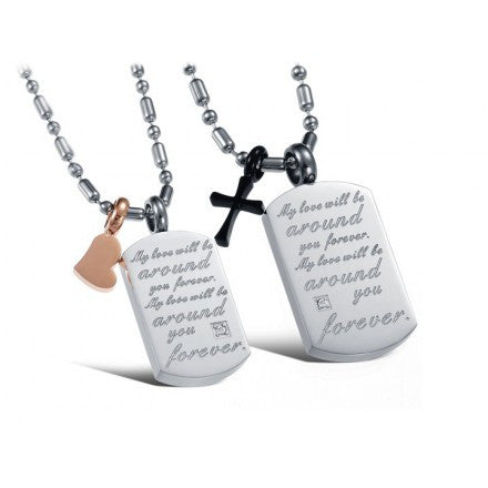 Personalized Square Board Lover Necklaces Stainless Steel (Price For a Pair)