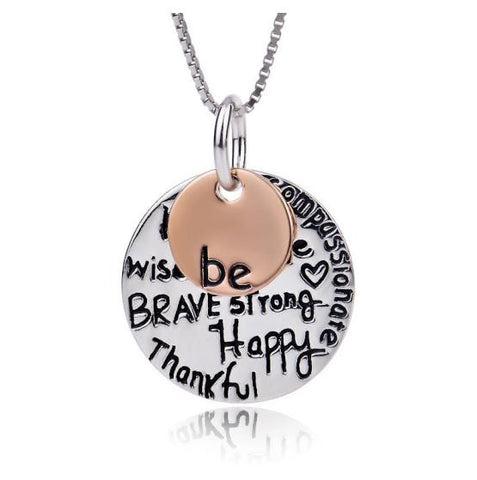 "925 Sterling Silver Two-Tone ""Be Happy"" Graffiti Pendant Necklace"