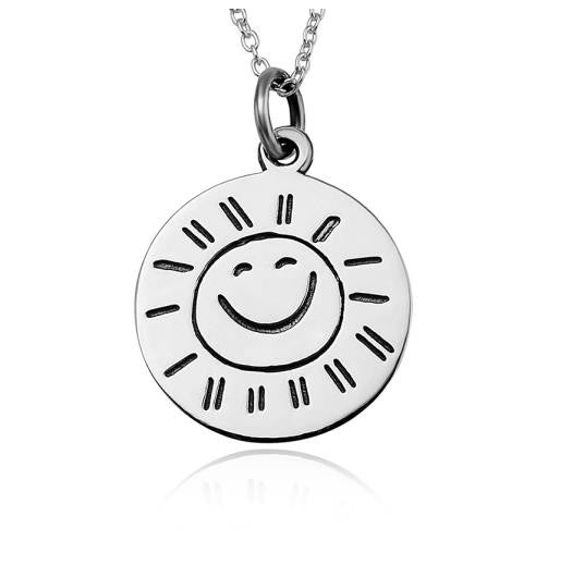925 Sterling Silver Sunshine Stamped Pendant Necklace