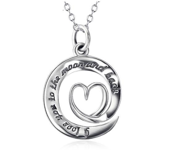 925 Sterling Silver Heart Shaped Stamped Pendant Necklace
