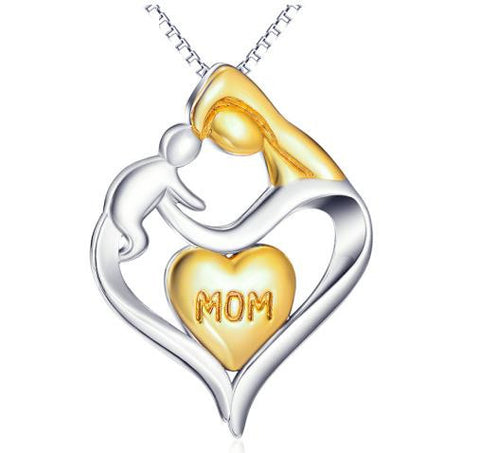 925 Sterling Silver Gold Plated Mom and Baby Pendant Necklace