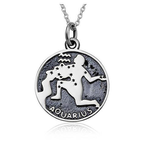 925 Sterling Silver Aquarius Engraved Pendant Necklace