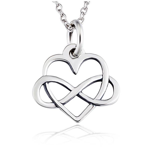 infinity pendant. 925 sterling silver heart and infinity pendant necklace