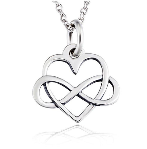 925 Sterling Silver Heart and Infinity Pendant Necklace