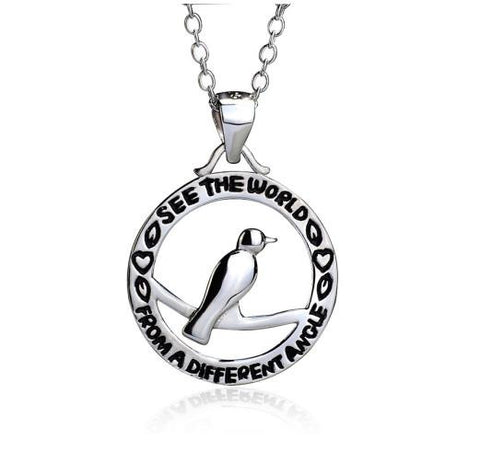 "925 Sterling Silver ""see the world"" Bird Stampede Pendant Necklace"