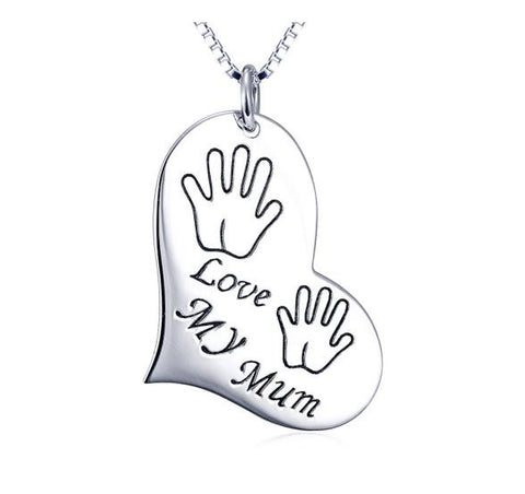 "925 Sterling Silver ""love my mum"" Love Words Pendant Necklace"