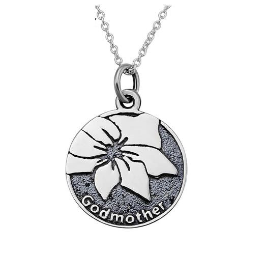 "925 Sterling Silver ""Godmother"" Stamped Pendant Necklace"