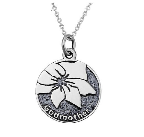"Personalized 925 Sterling Silver ""Godmother"" Stamped Pendant Necklace"