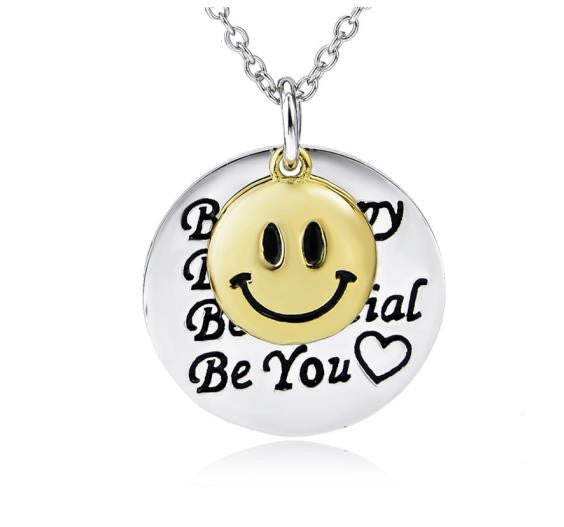 925 Sterling Silver Smiling Face and Quote Stamped Pendant Necklace