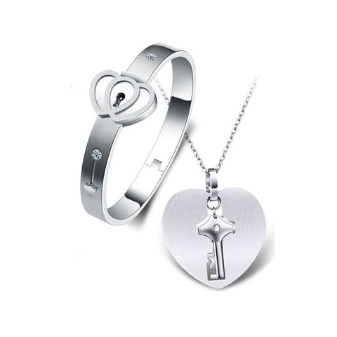 Men's Key Necklace Women's Lock Couple Bracelets
