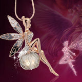 Angel Wings Angel Sit On Rhinestone Ball Pendant Sweater Necklace