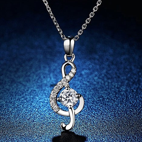 925 Sterling Silver Musical Pendant Necklace