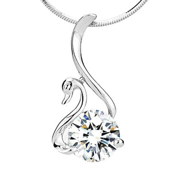 Crystal Swan Women's Sterling Silver Necklace