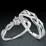 925 Sterling Silver Emulation Diamond Couple Rings