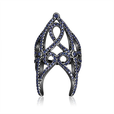 Hollow Pattern Dark Blue Diamond Nail Ring For Women