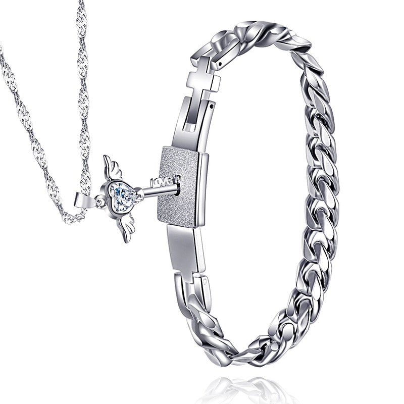 2d4de7565d Titanium Men Bracelet & 925 Sterling Silver Angel's Heart Key Necklace Set  For Couple