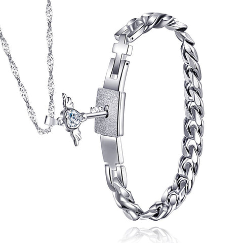 Titanium Men Bracelet & 925 Sterling Silver Angel's Heart Key Necklace Set For Couple