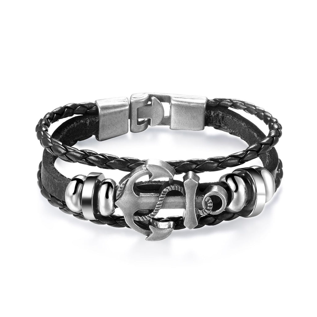 Leather Weave Alloy Sword Men Bracelet