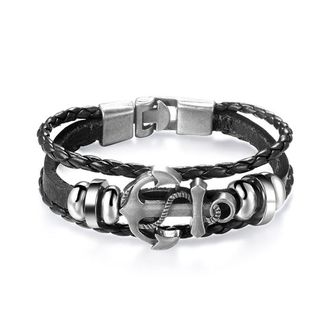 Alloy Sword Leather Weave Men Bracelets Brown