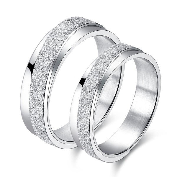 Matte Surface Titanium Steel Couple Rings