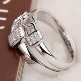 'Lock Heart' 925 Sterling Silver Platinum Plated Couple Rings