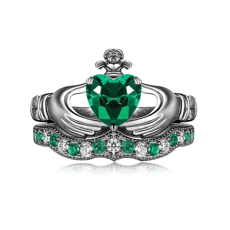 925 Sterling Silver Gold Plated Green Emerald Claddagh