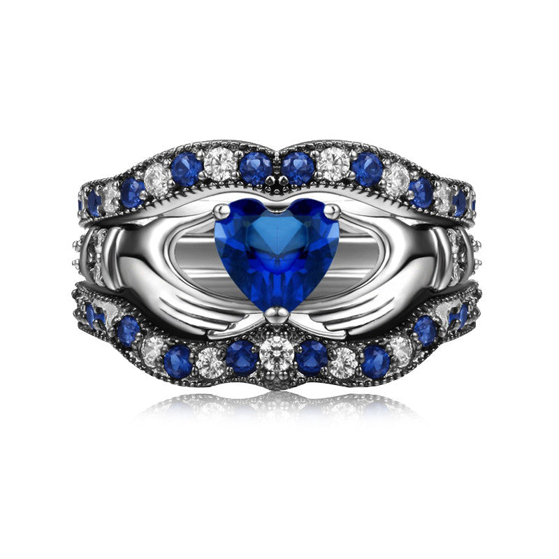 Blue Diamond Claddagh Engagement Ring Set Evermarker