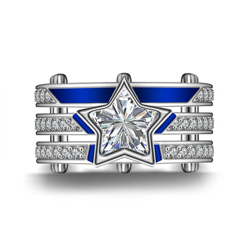 925 Sterling Silver Dallas Cowboys Team Logo Design Unisex Ring