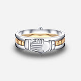 Movable Three-Piece Sterling Silver Gold Plated Claddagh Ring