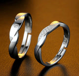 925 Sterling Silver Twist Opening Couple Rings