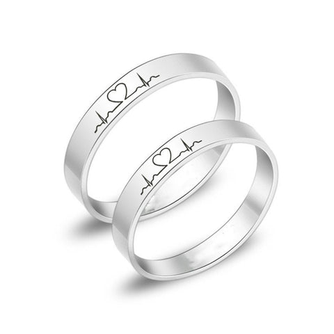 Simple Love Wave Couple Rings