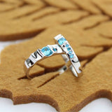 Classic Blue Zircon 925 Silver Couple Rings