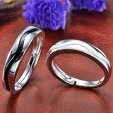 Black & White Waves 925 Silver Couple Rings
