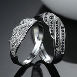 Black & White CZ 925 Silver Ajustable Couple Rings