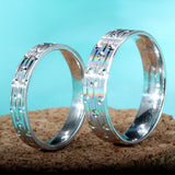 Aesthetic Creative Matte 925 Sterling Silver Couple Rings