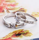 Luxurious & Elegant Inlay Cubic Zirconia Couple Rings