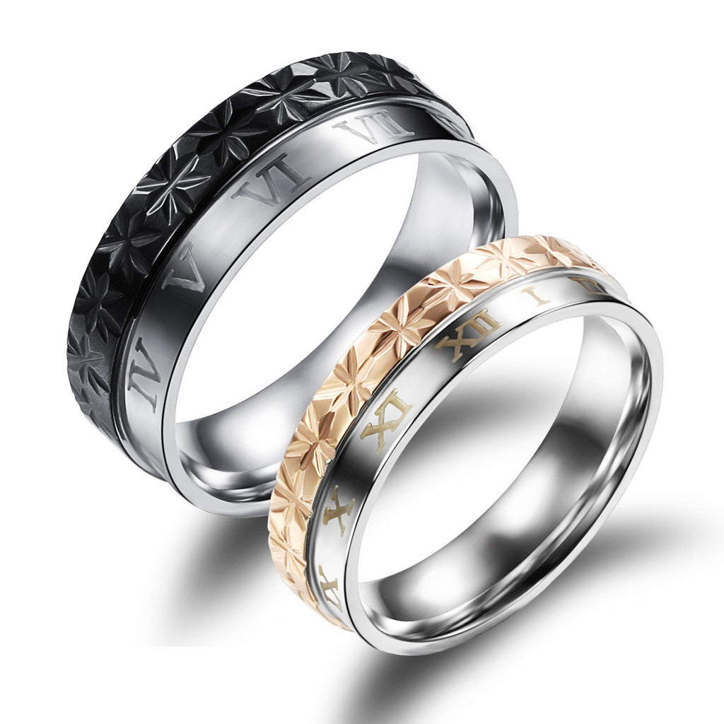new-roman-numerals-titanium-steel-couple-rings