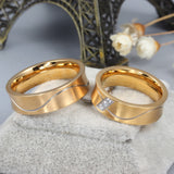 Wavy Lines Titanium Steel Couple Rings