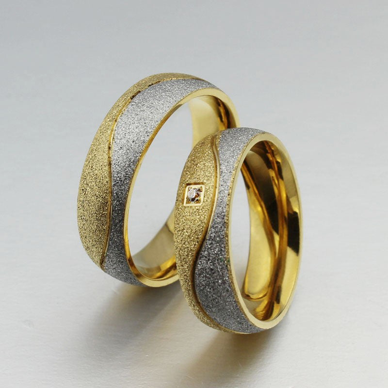 Matte Titanium Steel Plated 18K Gold Couple Rings – EverMarker