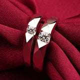 925 Sterling Silver Rhombic Cutting Opening Couple Rings