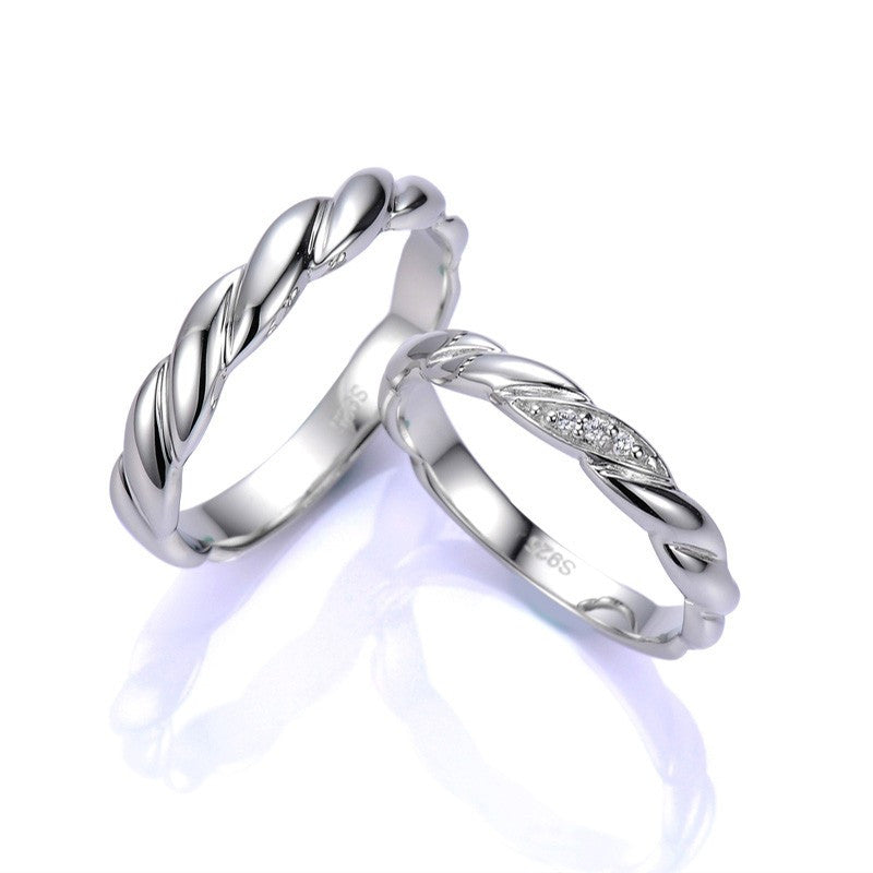 Twist Ring Surface 925 Silver Couple Ring – EverMarker