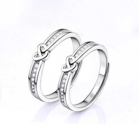 Intertwined Hearts Adjustable Couple Rings