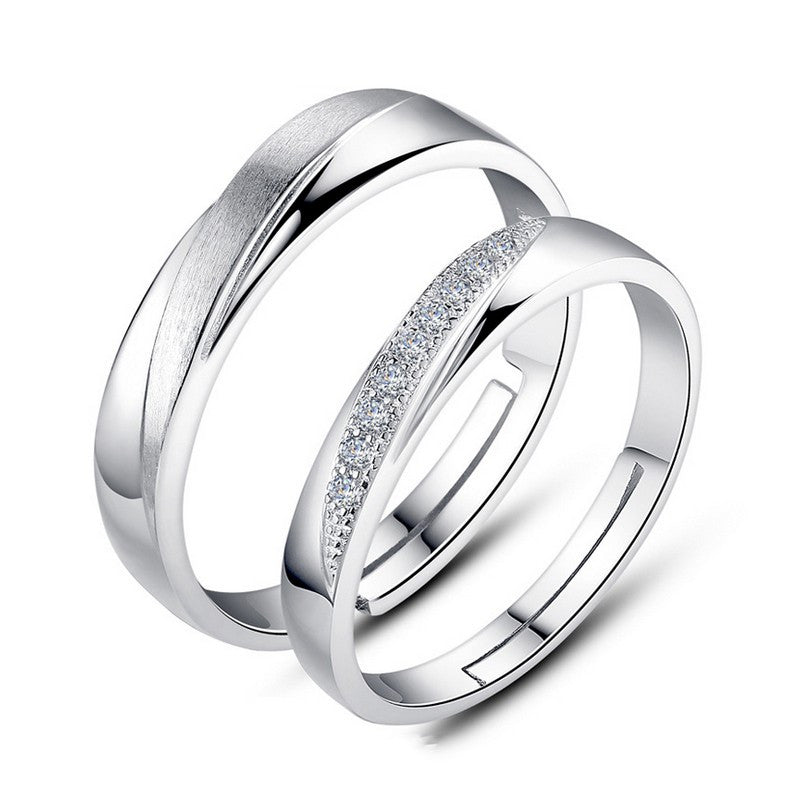 s925-silver-matte-inlaid-cubic-zirconia-adjustable-couple-rings