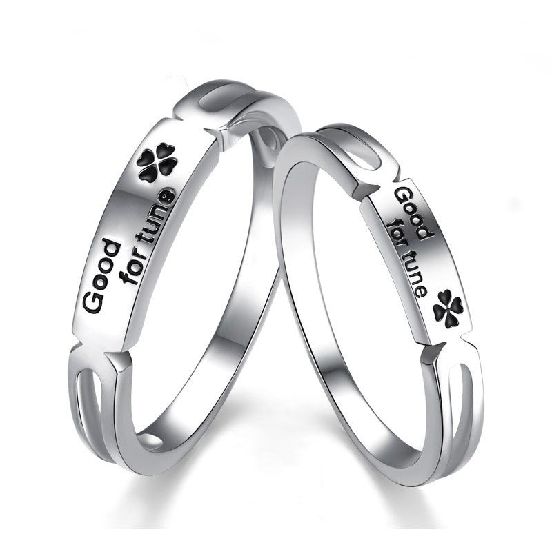 korean-fashion-lettering-925-sterling-silver-four-leaf-clover-couple-rings