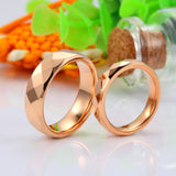 Diamond Tungsten Steel Rose Gold Plated Couple Rings